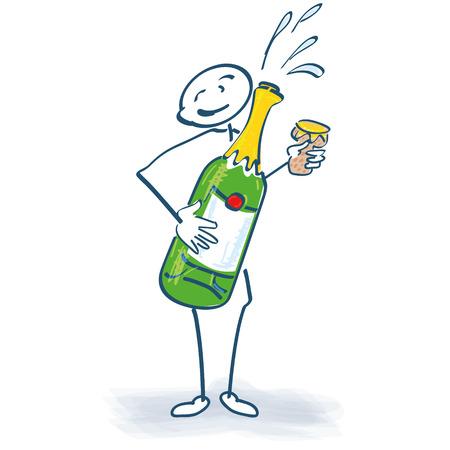 bouteille champagne: Chiffre de b�ton avec une bouteille de champagne