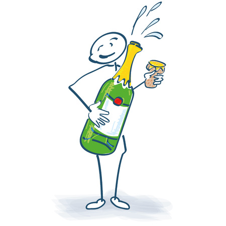 Stick figure with champagne bottle