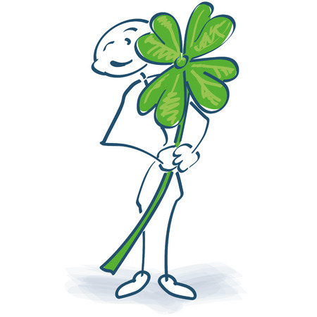 Stick figure with shamrock Illustration