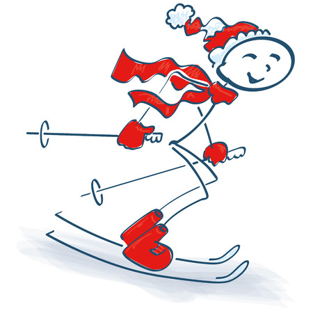 Stick figure and skiing Vector