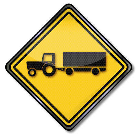 slowdown: Sign with tractor with trailer