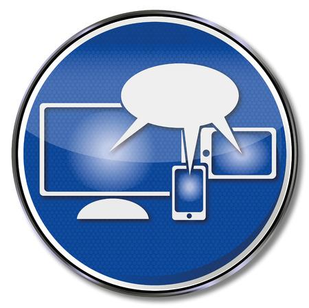 deployment: Sign cloud computing and social media Illustration