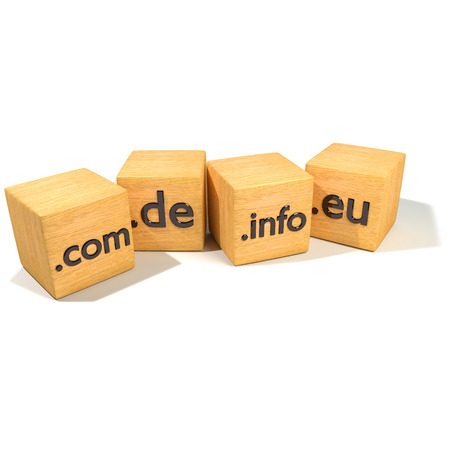 subdomain: Dice with internet addresses and domains Stock Photo