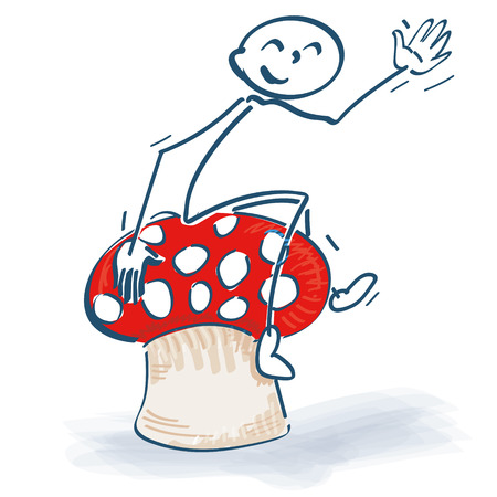 Stick figures with lucky mushroom and toadstool