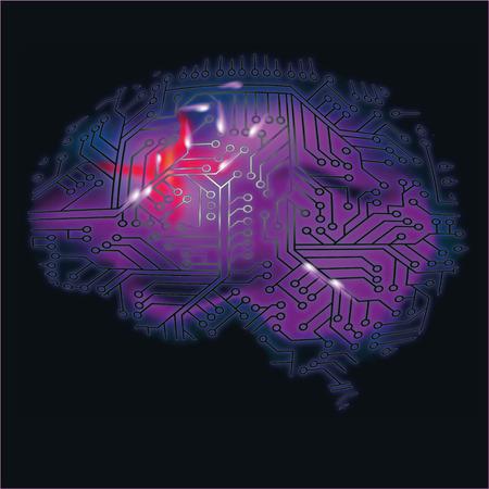 Mózg, komputer i krwawienia mózgu Ilustracje wektorowe