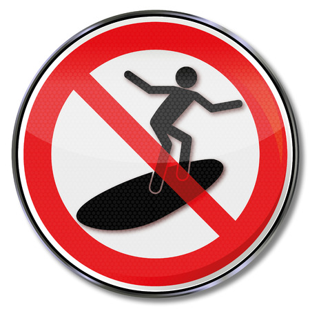 Prohibition sign for surfers Stock Illustratie