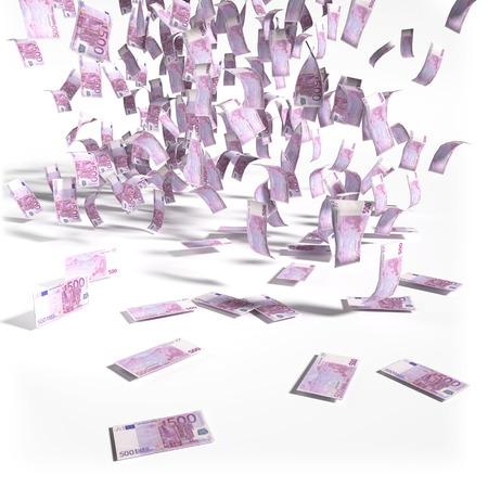 Money rain of 500 euro bills