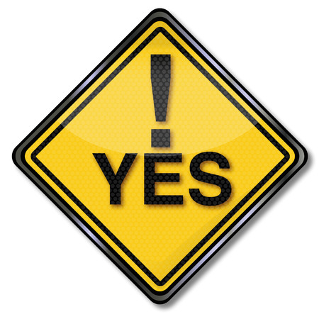 Sign with a big yes and call sign Vector