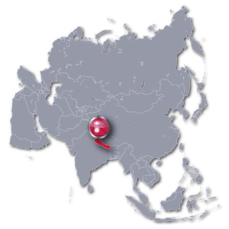 landlocked: Asia map with Nepal Stock Photo