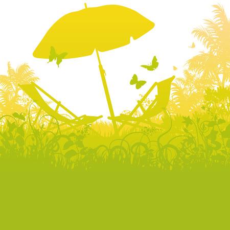 deckchair: Deck chairs with umbrella in the palm garden