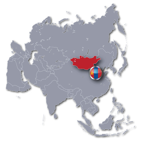landlocked country: Asia map with Mongolia