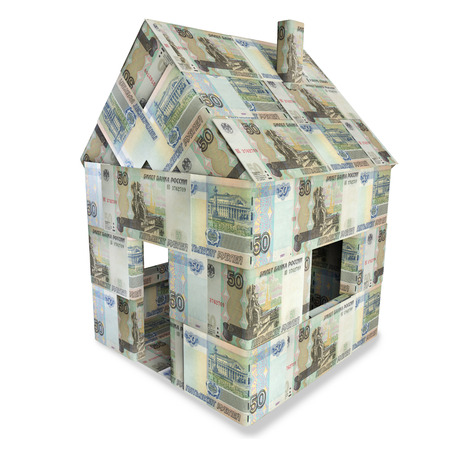 housing crisis: House made of 50 rubles bills