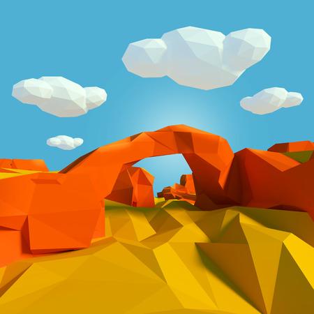 Small landscape with stone bridge in the desert photo