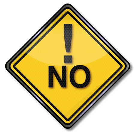 note of exclamation: Sign with a big No and exclamation mark