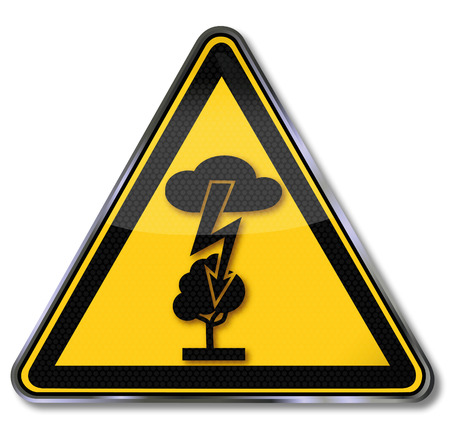Warning Sign of a electric shock and lightning in a tree Çizim