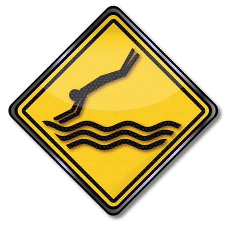 Sign attention please do not jump into the water Çizim
