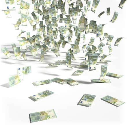 debt trap: Money rain from 5 Euro bills Stock Photo