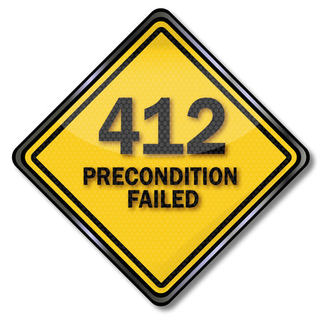 computer crash: Computer sign 412 precondition failed Illustration