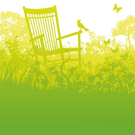 Schaukelstuhl in einem verwilderten Garten und Pause Standard-Bild - 35391934