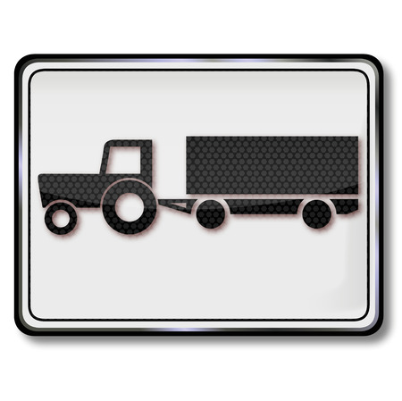 Sign with tractor with trailer at the harvest