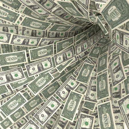 debt trap: Money swirl of 1 dollar bills