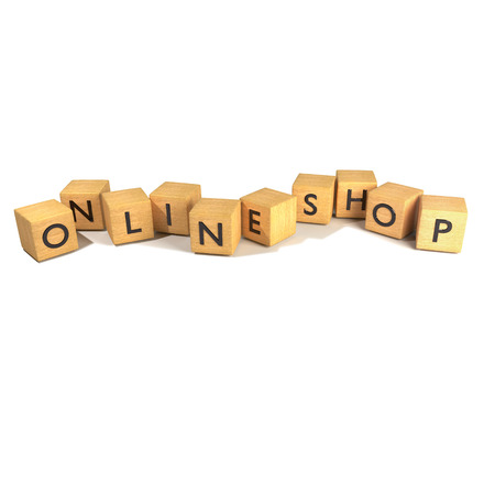 Cubes with online shop Stock Photo
