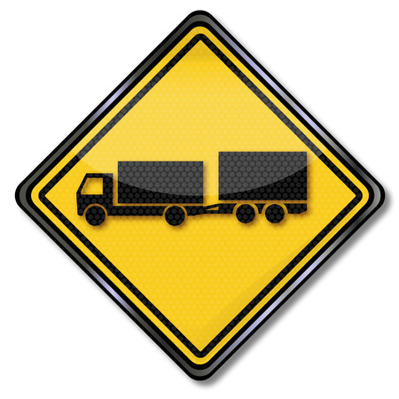 slowdown: Sign with truck with uniaxial trailer Illustration