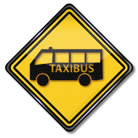 diamond plate: Sign taxi and taxi bus Illustration
