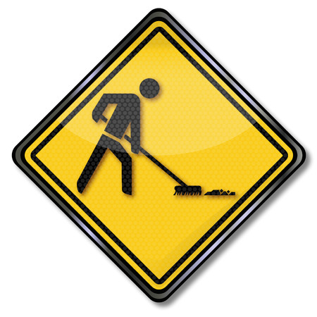 exploitation: Sign with a sweeping man Illustration