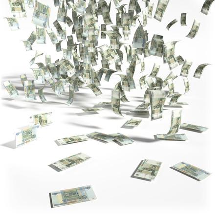debt trap: Money rain of 50 rubles bills