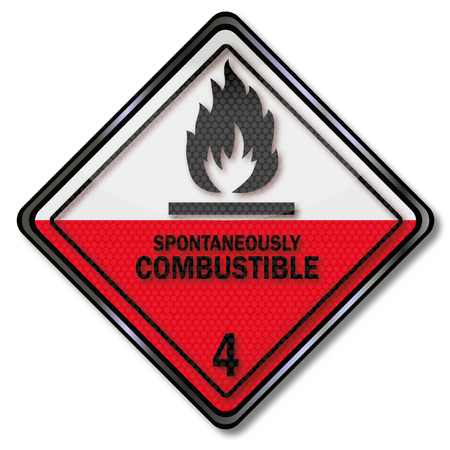 hazardous material: Danger sign to spontaneous combustion