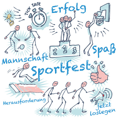 cheerfulness: Stick figures at a sports festival Illustration