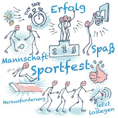 schooldays: Stick figures at a sports festival Illustration