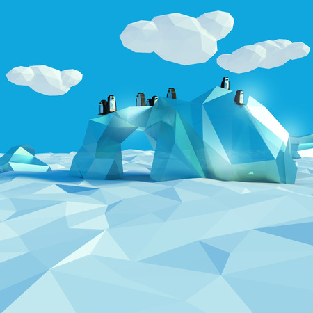 floe: Iceberg with penguins in the arctic ocean