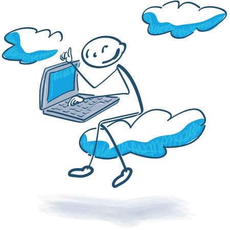 Stick figure with cloud computing
