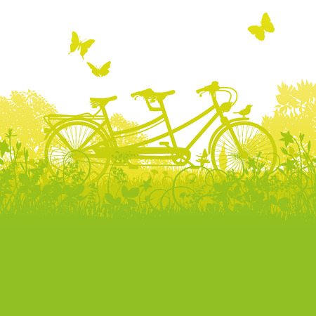 tandem bicycle: Bicycle and tandem in spring Illustration