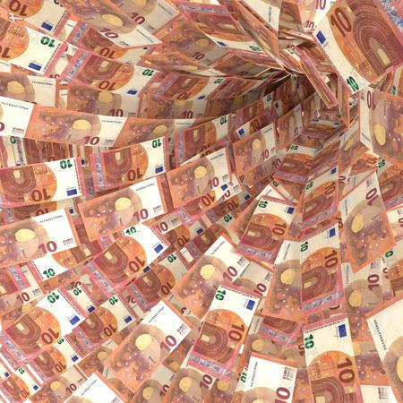 debt trap: Money vortex of 10 euro bills