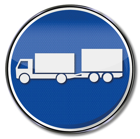 braking distance: Blue sign with truck with uniaxial trailer Illustration