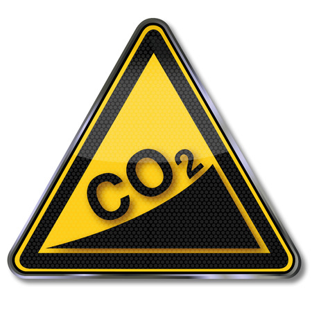 hazardous material: Sign with CO2 increase