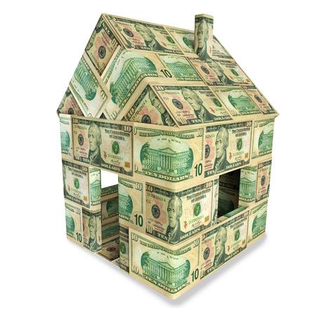 severance: House made of 10 dollar bills Stock Photo