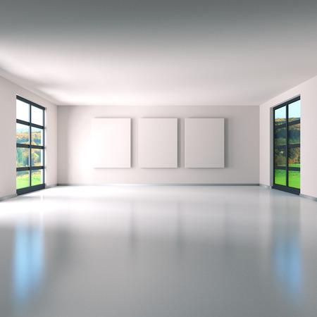 Room with three screens photo