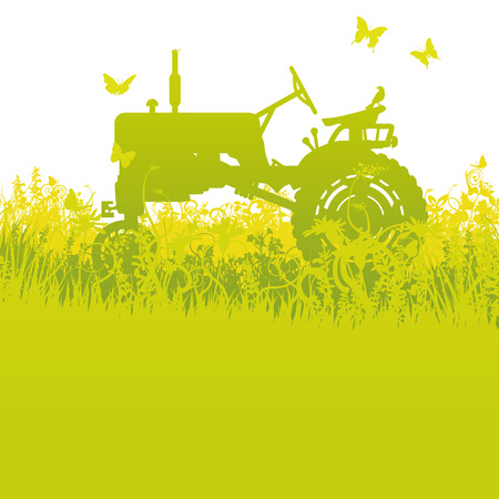 old tractors: Tractor at the harvest Illustration