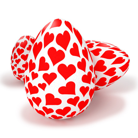 fortunately: Painted eggs with little hearts