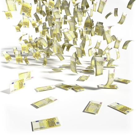 debt trap: Money rain of 200 euro bills