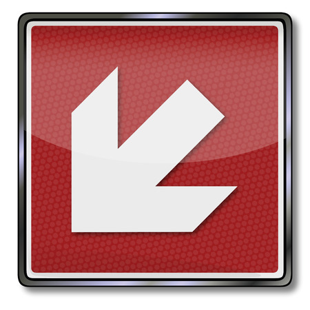 Fire safety signs left arrow down