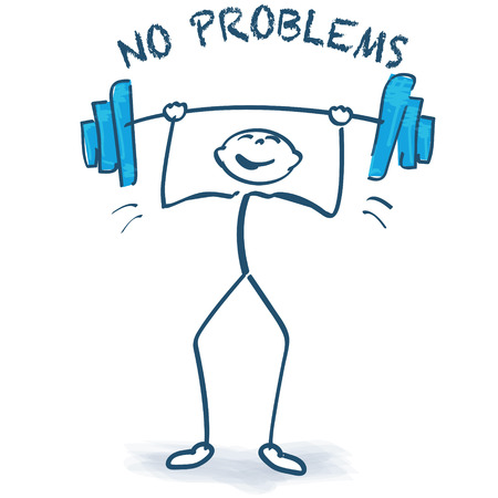 no problems: Stick figure with weight lifting and no problems