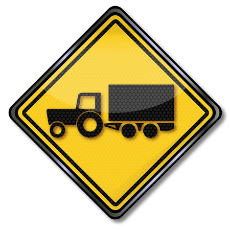 tractor warning: Sign attention tractor at harvest and transport of harvest Illustration