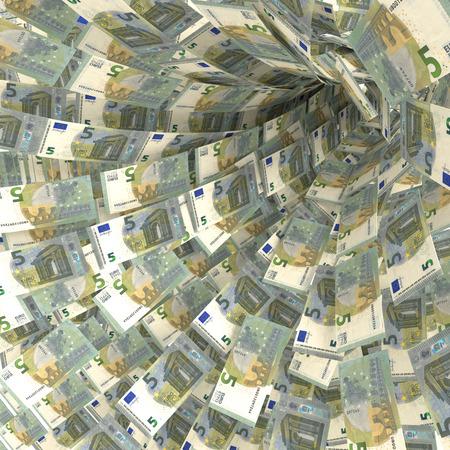debt trap: Money vortex of 5 Euro notes
