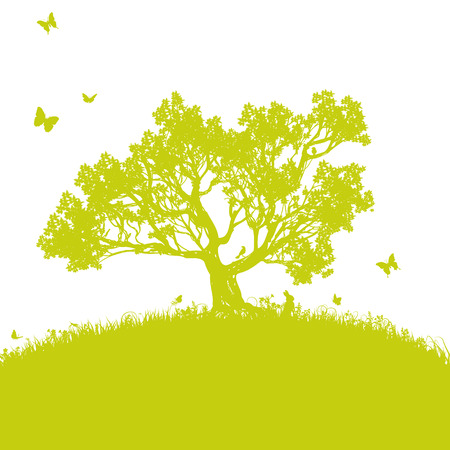 solitaire: Scattered tree in the meadow Illustration