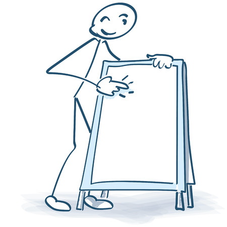 Stick figure with advertising stand Illustration